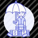finance, saving, management, pile, female, protection, umbrella, secure, money, insurance