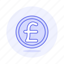coin, currencies, finance, money, pound icon