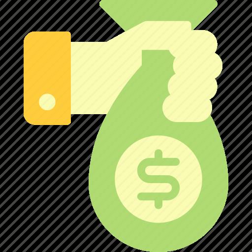 business, economy, finance, hand, money, sack, with icon