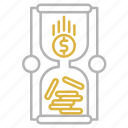 business, flow, hourglass, money, time is money icon
