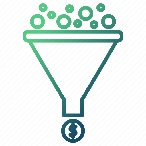 coins, funnel, money flow, sort, with icon
