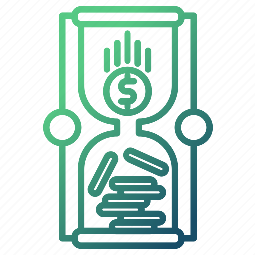 hourglass, management, money, money flow, with icon