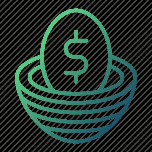 banking, egg, money, money flow, nest icon