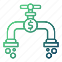 flow, money, online, pipe icon