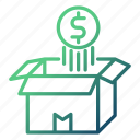 box, coin, float, money, money flow, opened, over icon