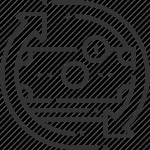 arrow, donation, money, money flow, recycle, revenue, savings icon