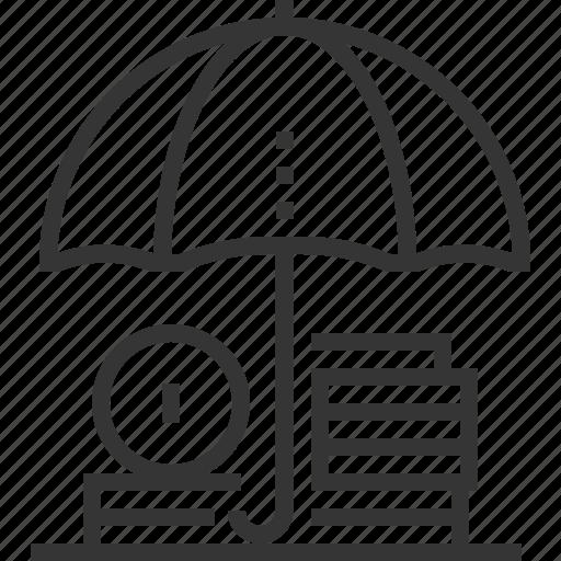 coin, funds, income, money, protection, savings, umbrella icon
