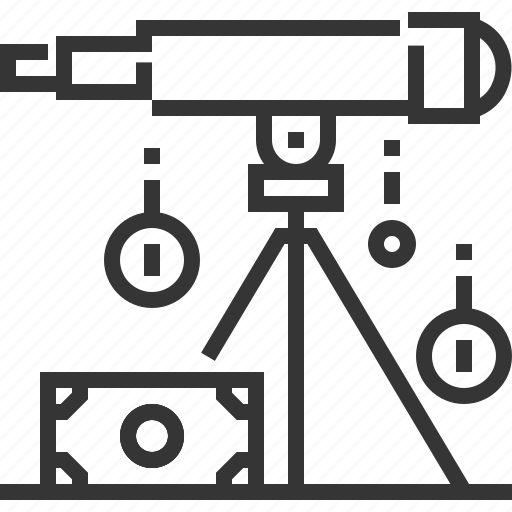 business, coin, forecasting, money, revenues, telescope, vision icon