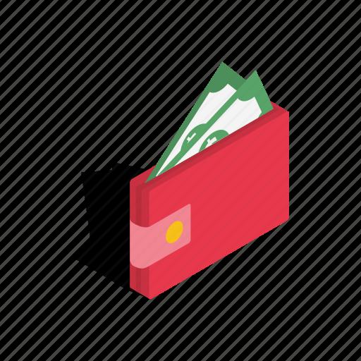 business, cash, dollar, finance, isometric, money, purse icon