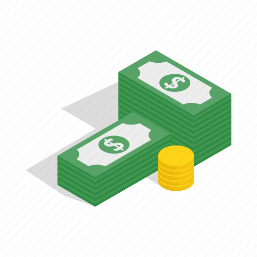 business, coins, dollars, finance, isometric, money, purse icon