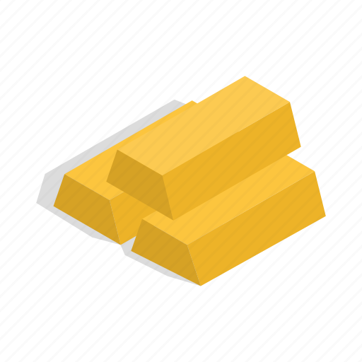 bars, business, finance, gold, isometric, metal, wealth icon