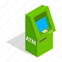 atm, bank, banking, cash, finance, isometric, machine icon
