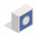 box, deposit, finance, isometric, metal, safety, wealth icon