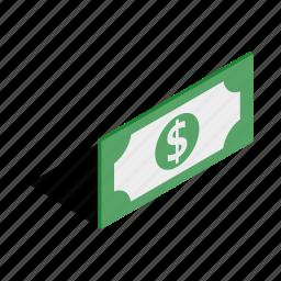 bill, business, dollar, finance, isometric, money, purse icon