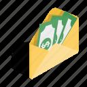 business, dollar, envelope, finance, isometric, money, purse icon