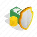 business, cash, finance, isometric, money, purse, savings icon