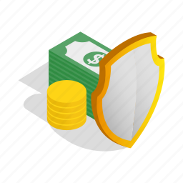 business, cash, finance, isometric, money, purse, savings icon