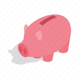 bank, banking, cash, currency, isometric, piggy, save icon