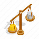 balance, business, coins, finance, isometric, scales, weight icon