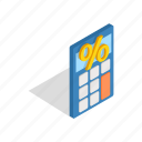 business, calculate, calculator, electronic, isometric, mathematics icon