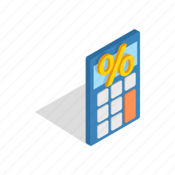 business, calculate, calculator, electronic, isometric, mathematics icon
