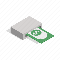 atm, bank, banknotes, card, isometric, output, wealth icon