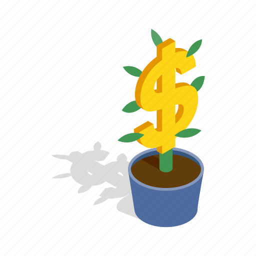 business, dollar, finance, growth, isometric, money, tree icon