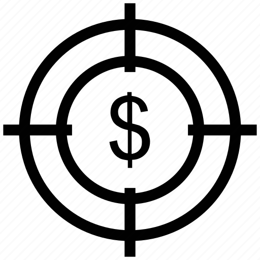 business, crosshair, dollar, focus, marketing icon