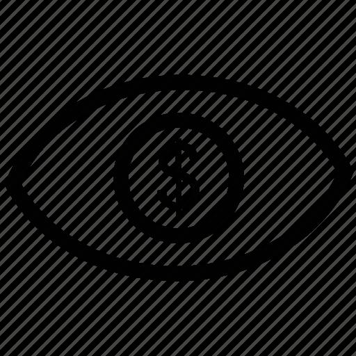 business, eye, eye dollar, marketing icon