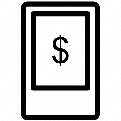 dollar display, finance, financial, mobile icon