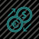 currency, dollar, euro, exchange, money convert