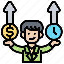 balance, cost, management, time, upward icon