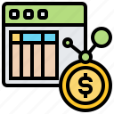 analysis, ledger, monetary, table, transaction icon