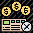 essential, expense, mistake, non, paycheck icon