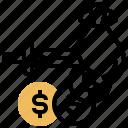 deduction, loss, money, stab, tax icon