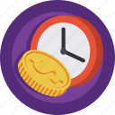 clock, coin, money, time icon