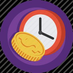 clock, coin, money, time icon