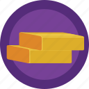 bar, bullion, gold, ingot, rich icon