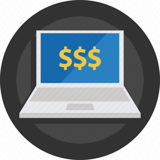 buy, dollars, laptop, money, money online, online, rich, sell icon