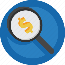 magnifier, money, search icon