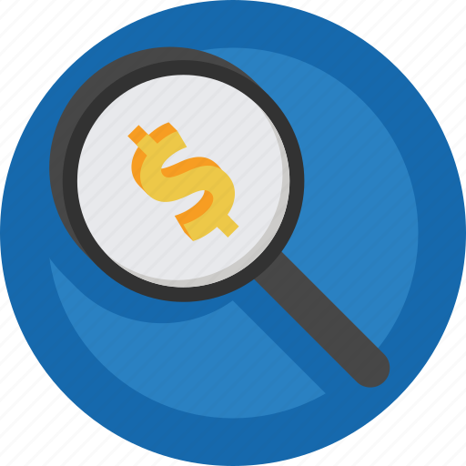 Magnifier, search, money icon