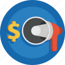 dollar, megaphone, money icon