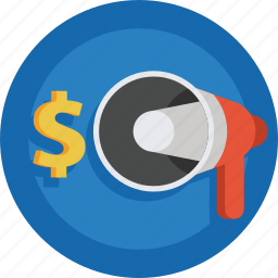 dollar, megaphone, money icon