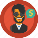 business, businessman, money, speech, suit, user icon