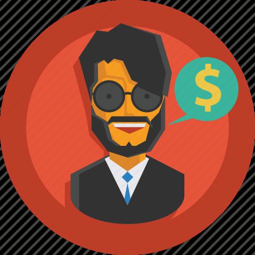 business, businessman, money, speech, suit, user icon