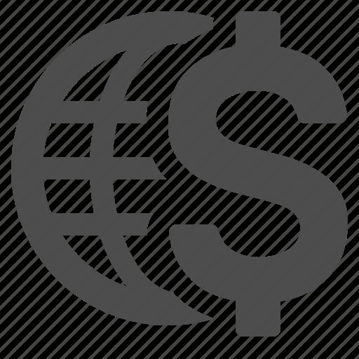 business, dollar, economy, finance, global, globe, money icon
