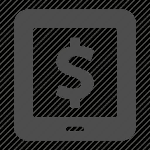 dollar, finance, ipad, money, tablet icon