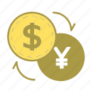 banking, cash, coin, currency, dollar, exchange, money icon