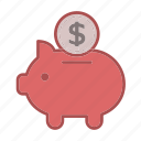 bank, banking, cash, money, payment, piggy bank, save icon