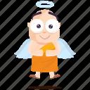 angel, emoji, emoticon, monk, smiley, sticker icon